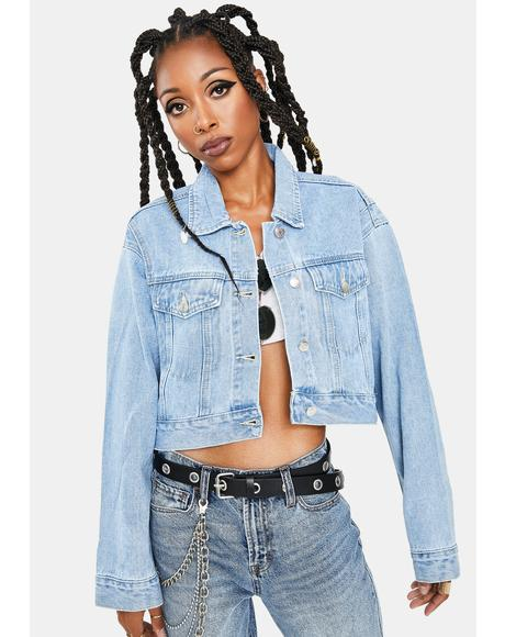 Light Vintage Wash Cropped Denim Jacket