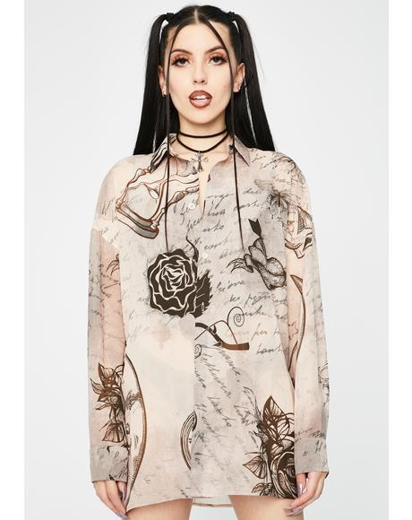 Mystic Tattoo Chiffon Button Up Shirt