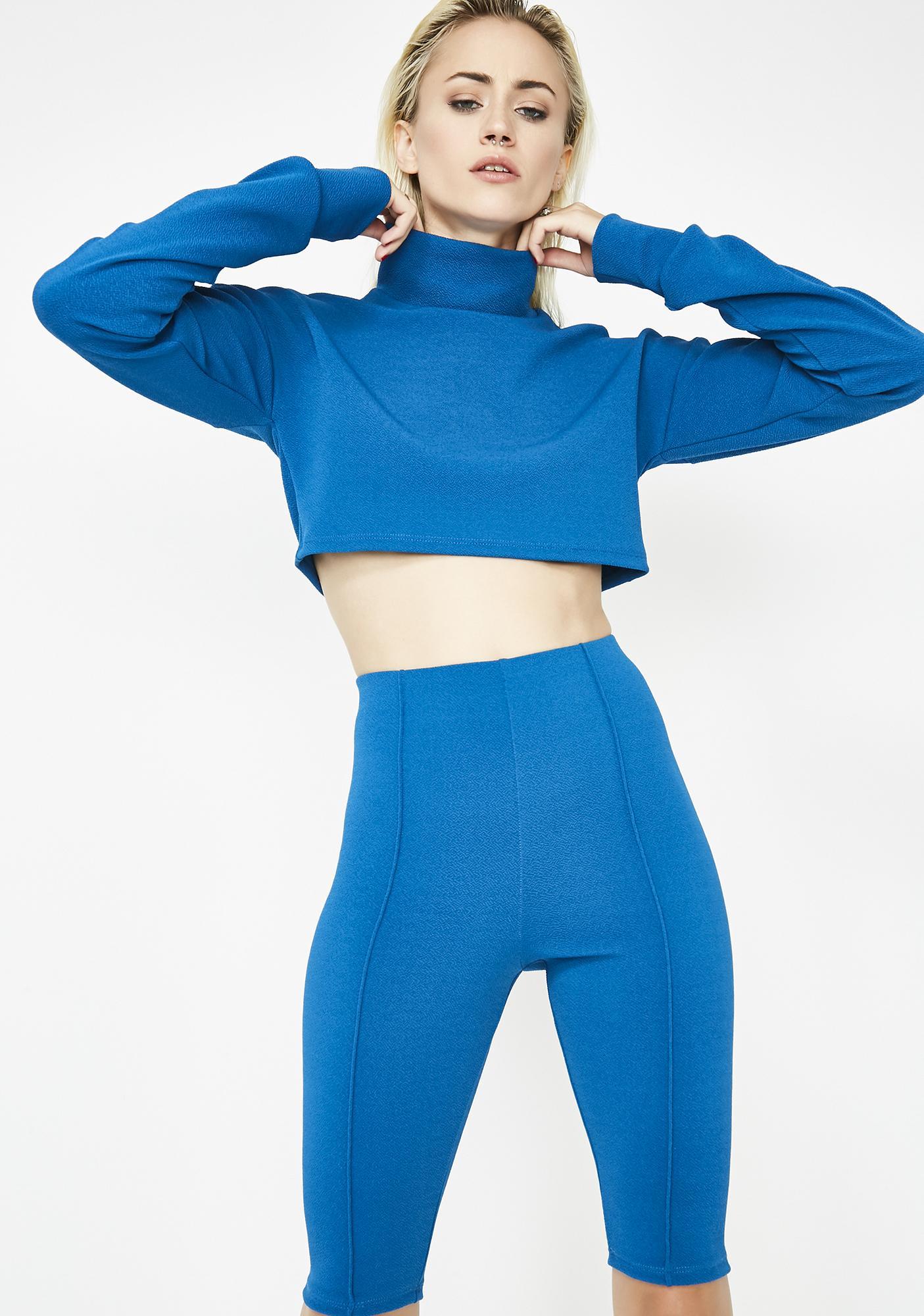 Cobalt Say Less Biker Shorts Set