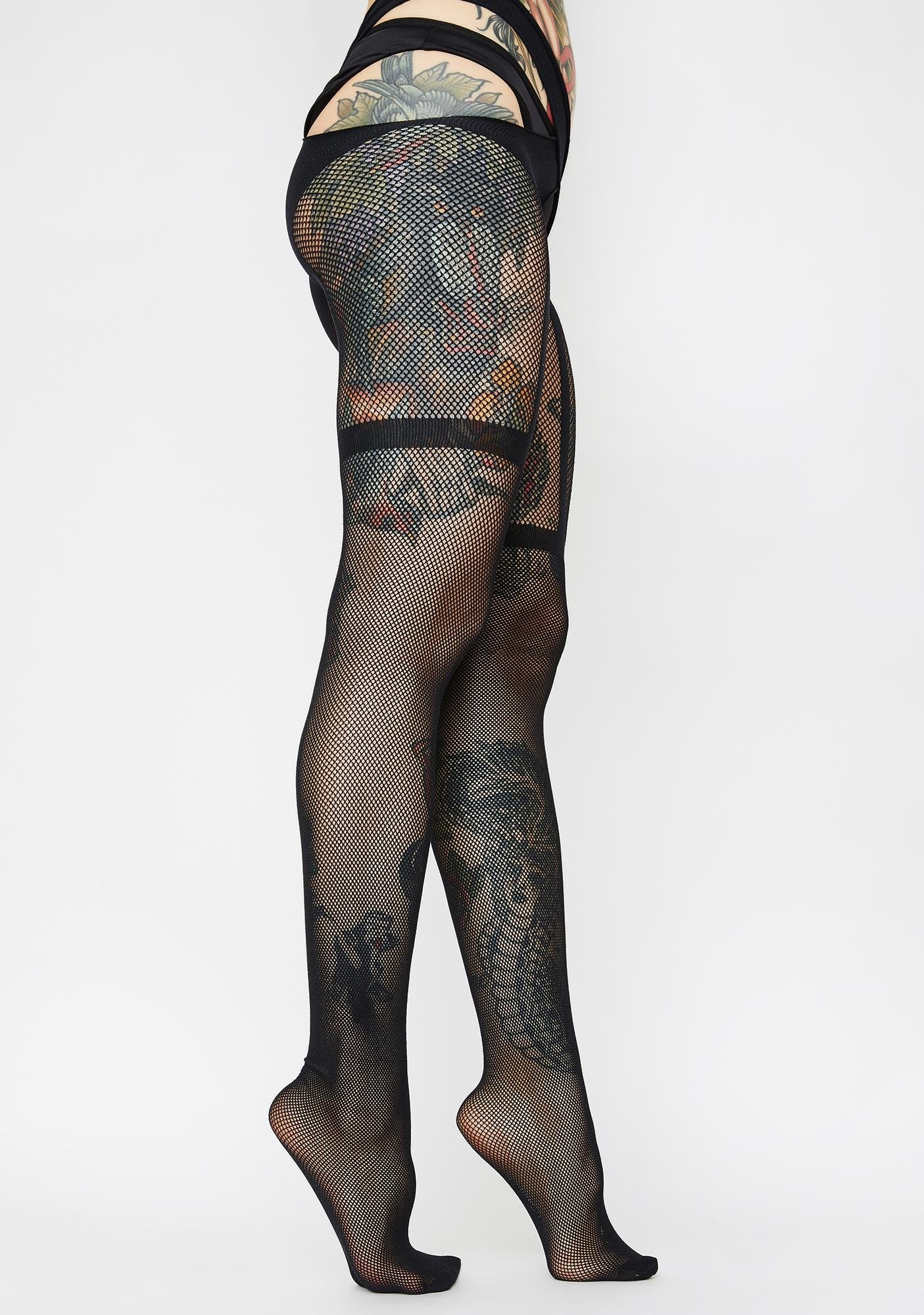 Killer Kitty Crotchless Tights