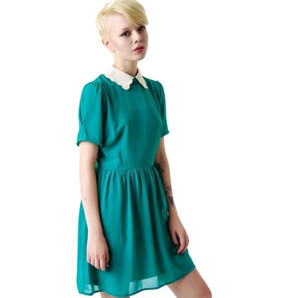Little Darling Scallop Collared Dress