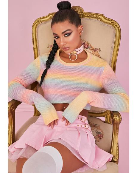 Rainbow Sadie Hawkins Striped Sweater
