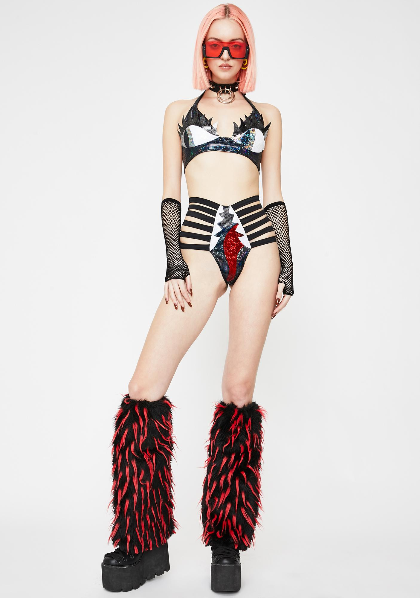 J Valentine Black & Red Faux Fur Leg Warmers