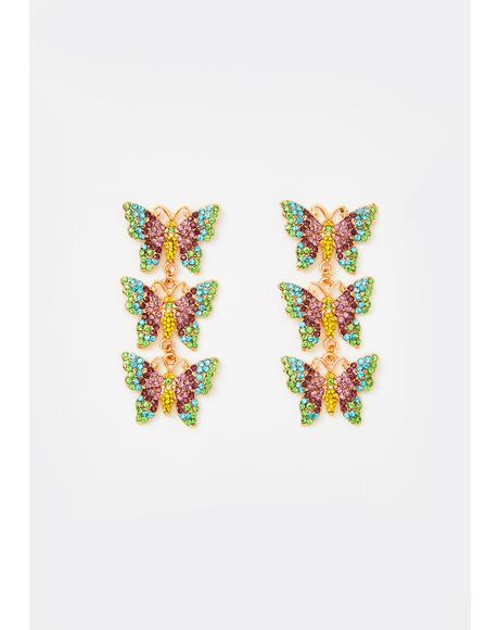 Fluttering Hearts Rhinestone Earrings