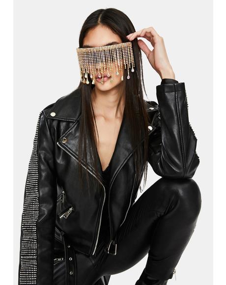 Divalicious Rhinestone Shield Sunglasses