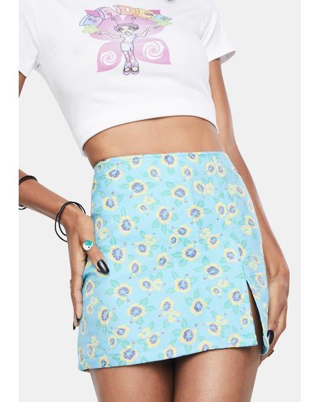 Flower Jacquard Mini Skirt
