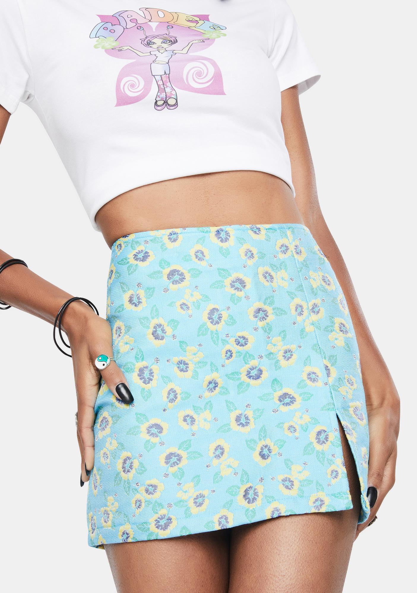 BADEE Flower Jacquard Mini Skirt