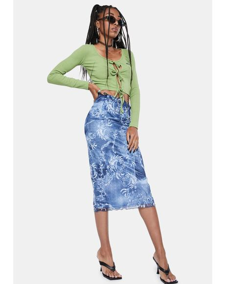 Denim Mesh Low Rise Midi Skirt