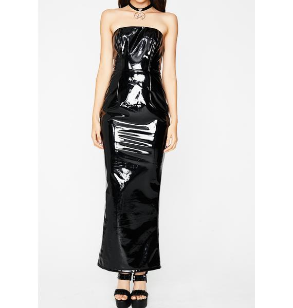 Glossy Look Maxi Dress