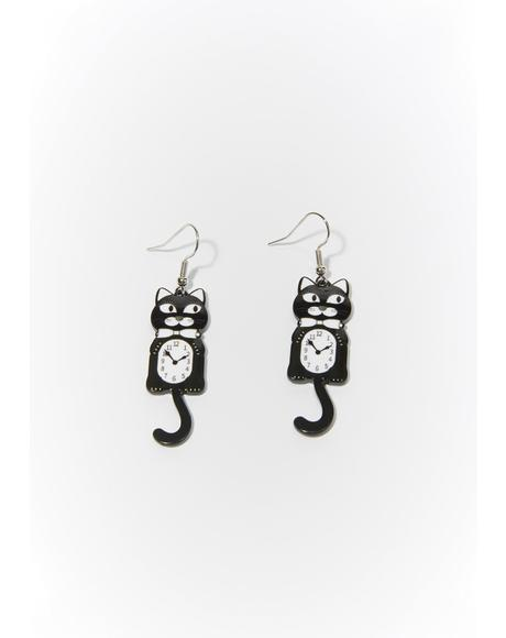 Noir Turning Back Time Cat Drop Earrings
