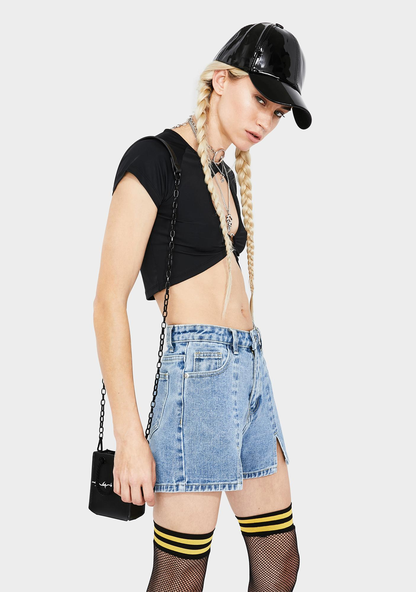 Momokrom Vintage Wash Split Hem Denim Shorts