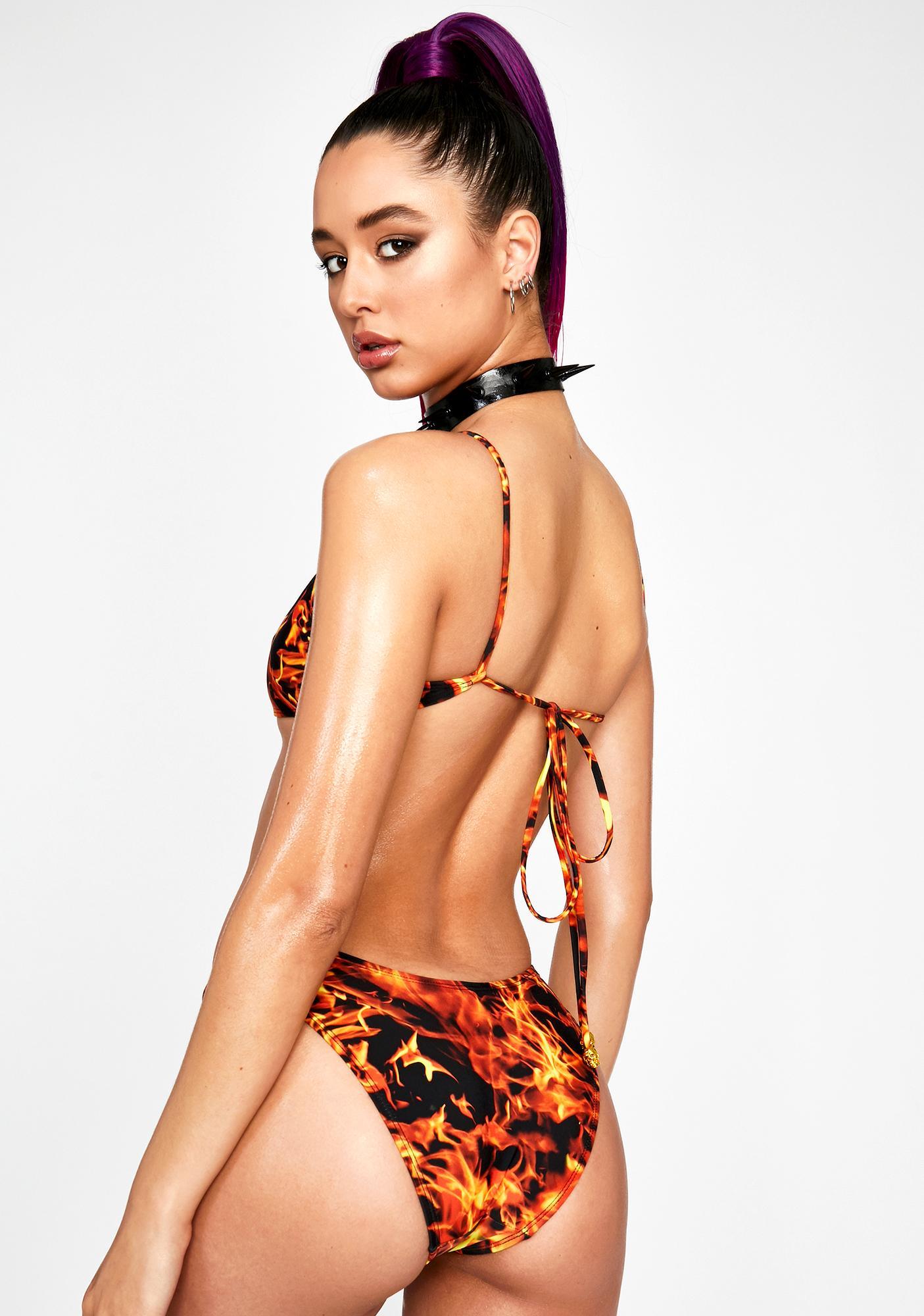 Jaded London Flame Print Carabiner Bikini Bottoms