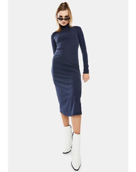 Navy Long Sleeve Midi Dress