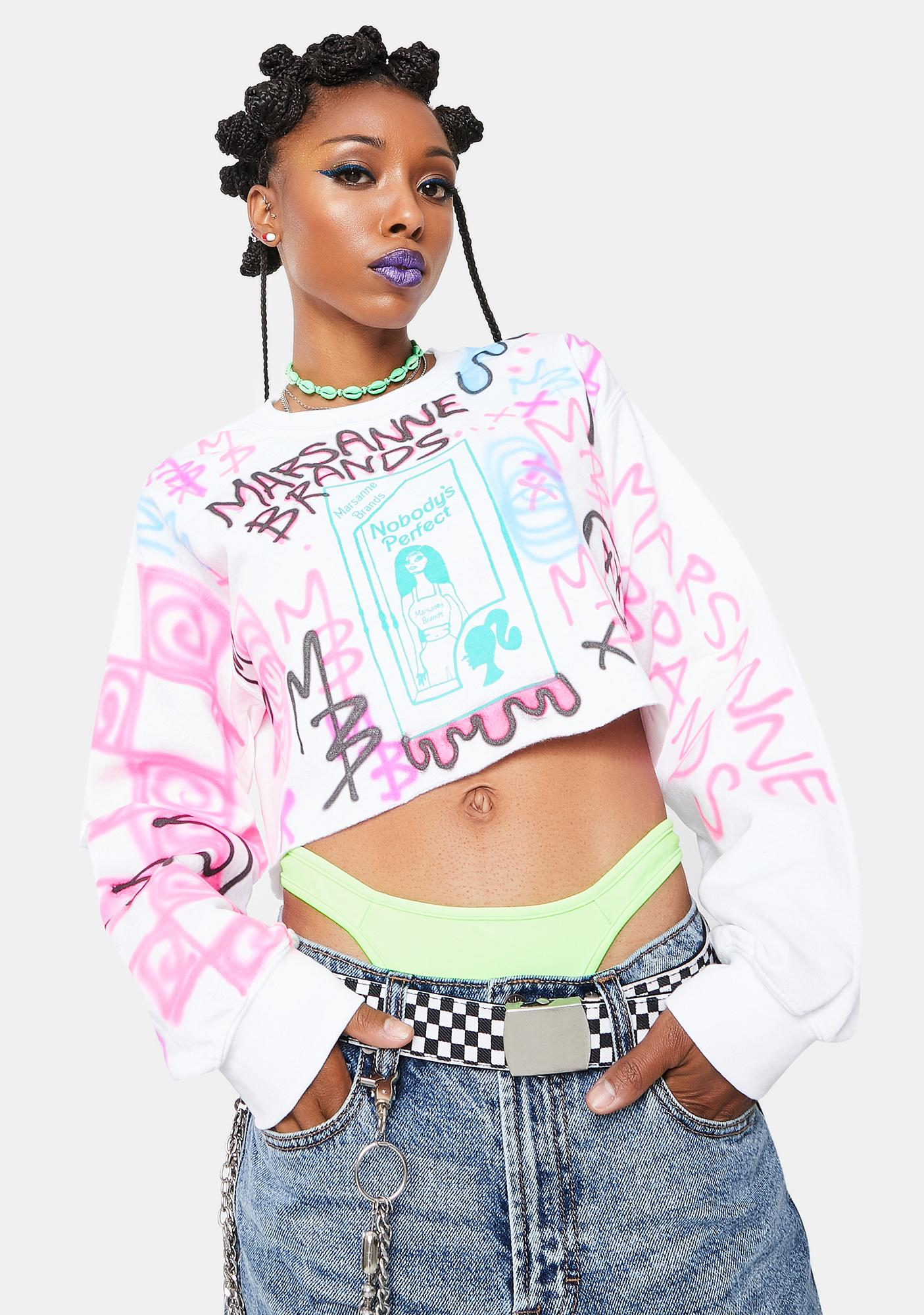 Marsanne Brands Nobody's Perfect Cropped Sweatshirt