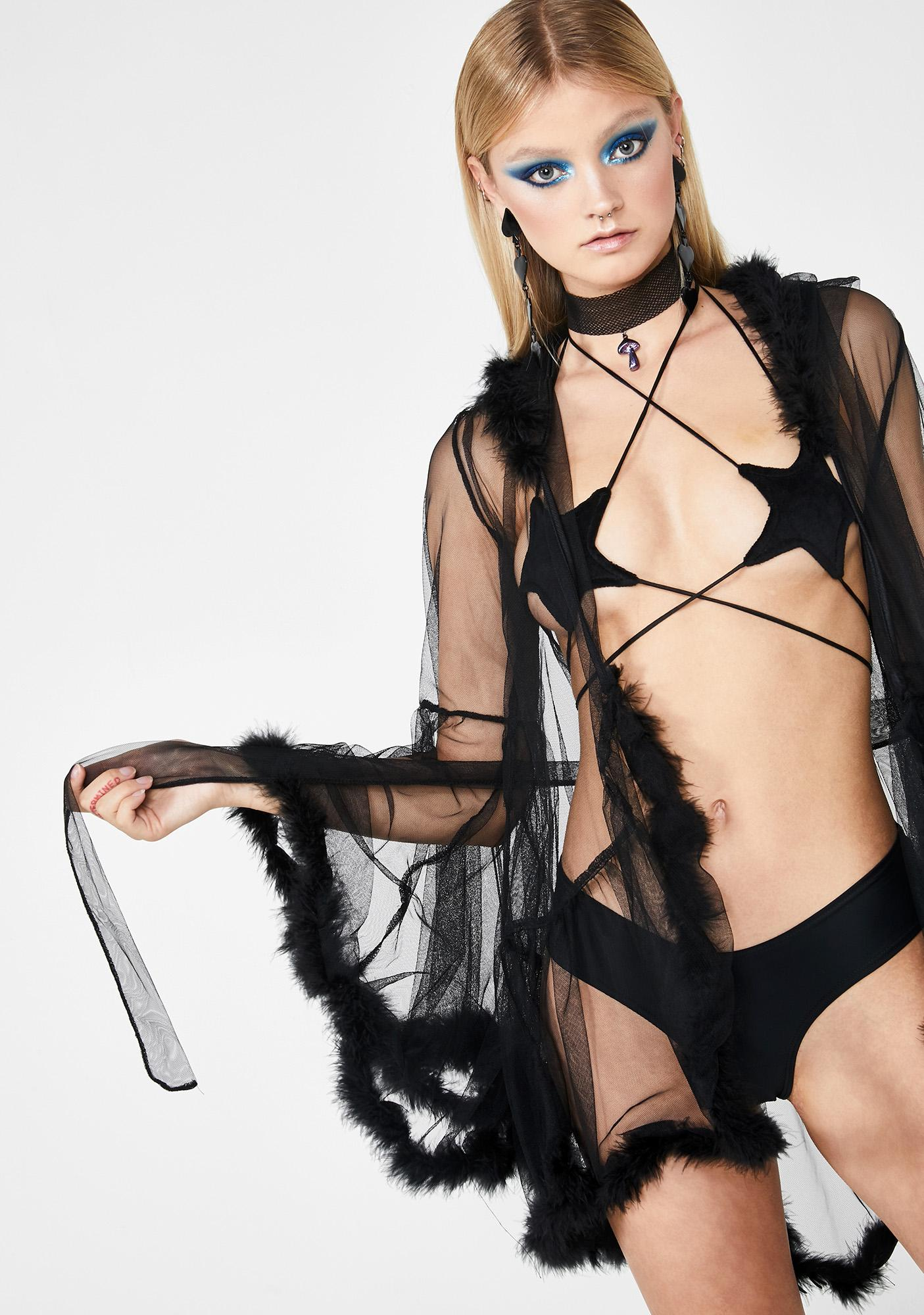 Club Exx Madam Luxxx Feathered Robe