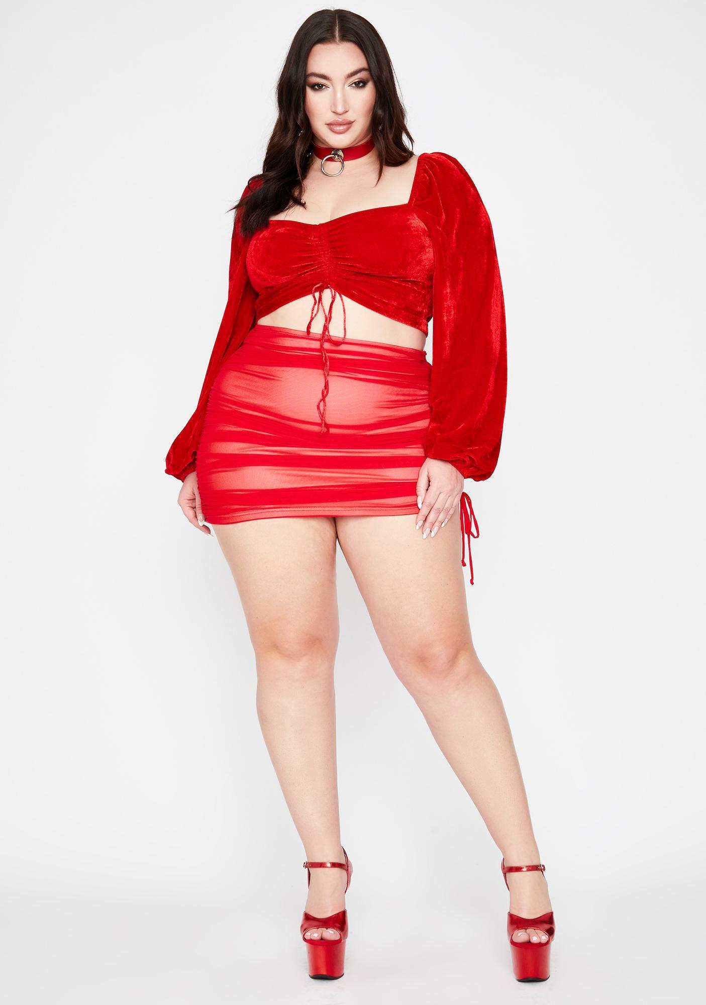 Hottie True Got Ur Number Ruched Skirt