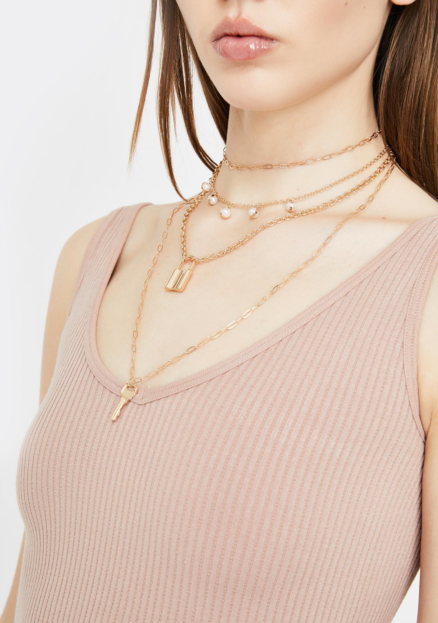 Under Lock N' Key Charm Necklace