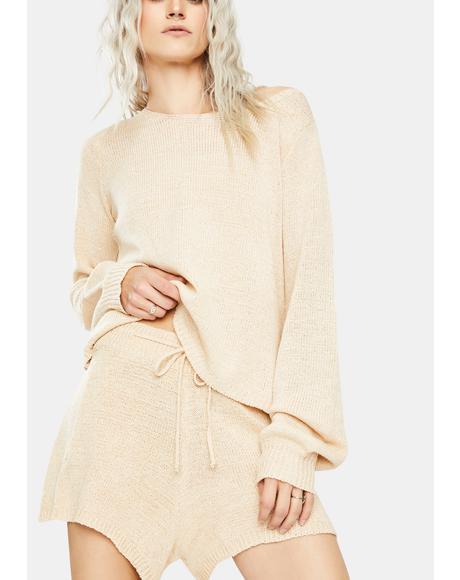 Sand Celeste Knit Shorts Set