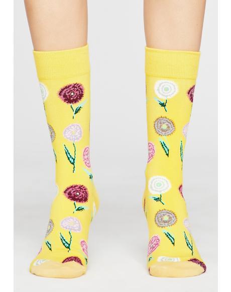 Sunshine Bloomin' Crew Socks