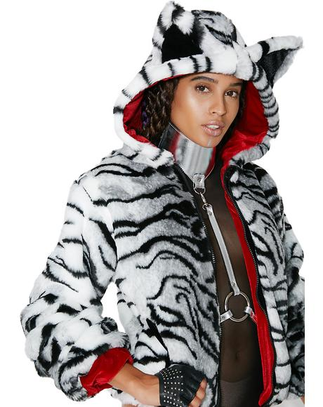 White Tiger Faux Fur Jacket