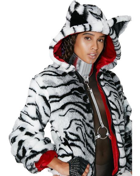 White Tiger Faux Fur Jacket