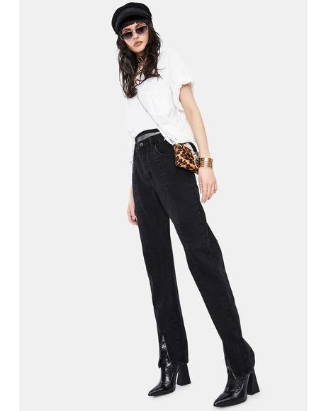 Washed Black Front Seam Zip Leg Jeans