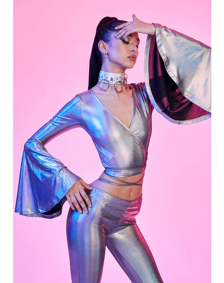 Disco Dreams Holographic Wrap Top