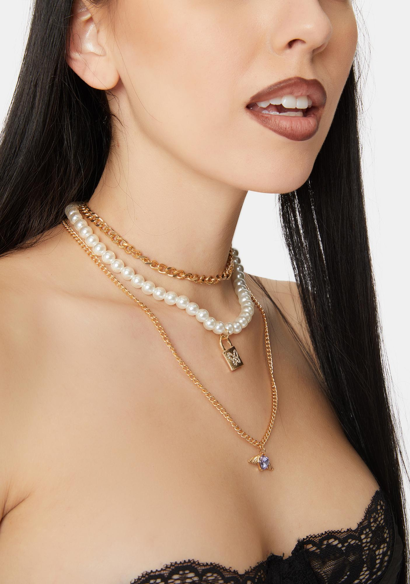 Chained Pearls Necklace Set