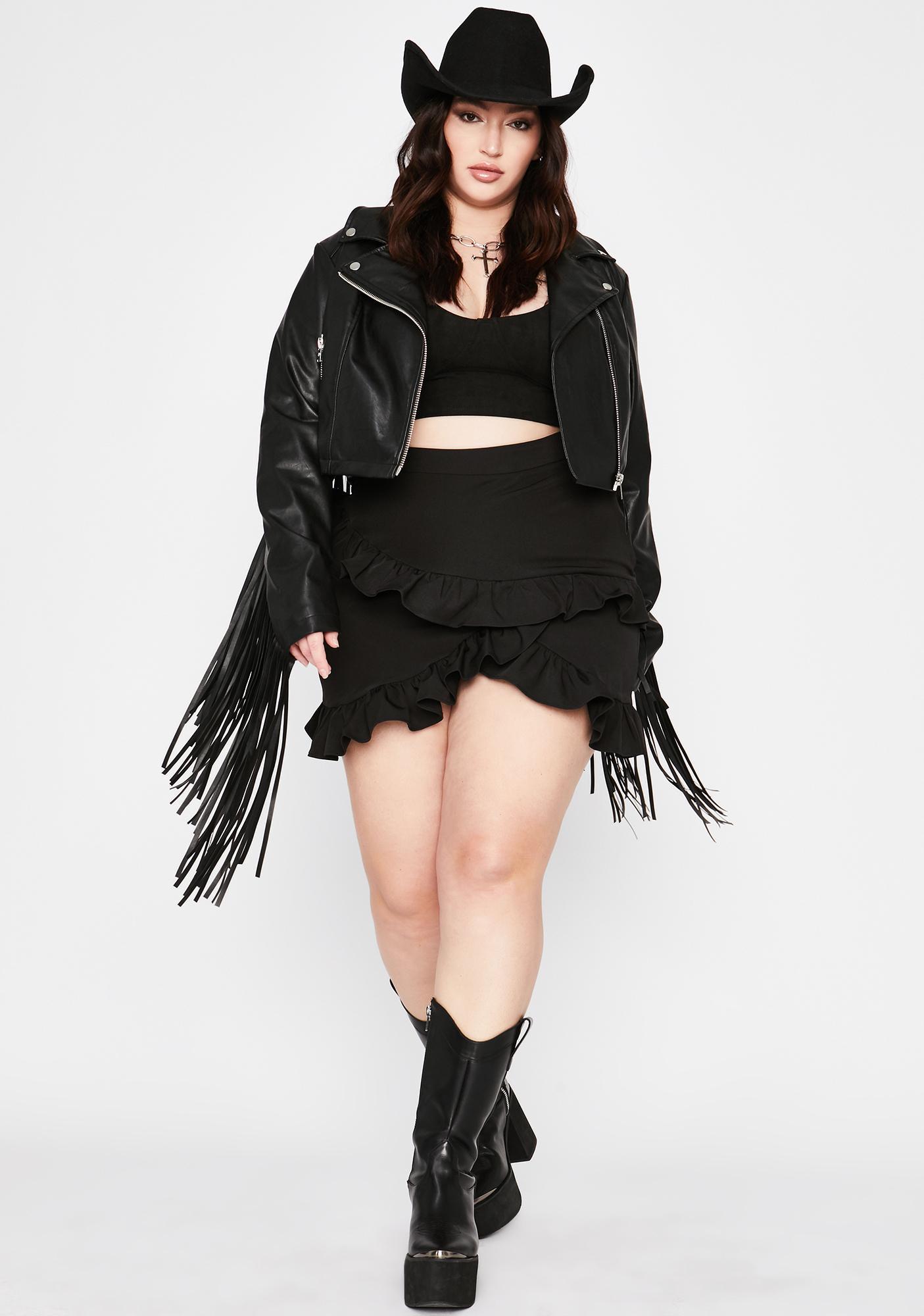 Bad Honey Can U Handle Ruffle Skirt