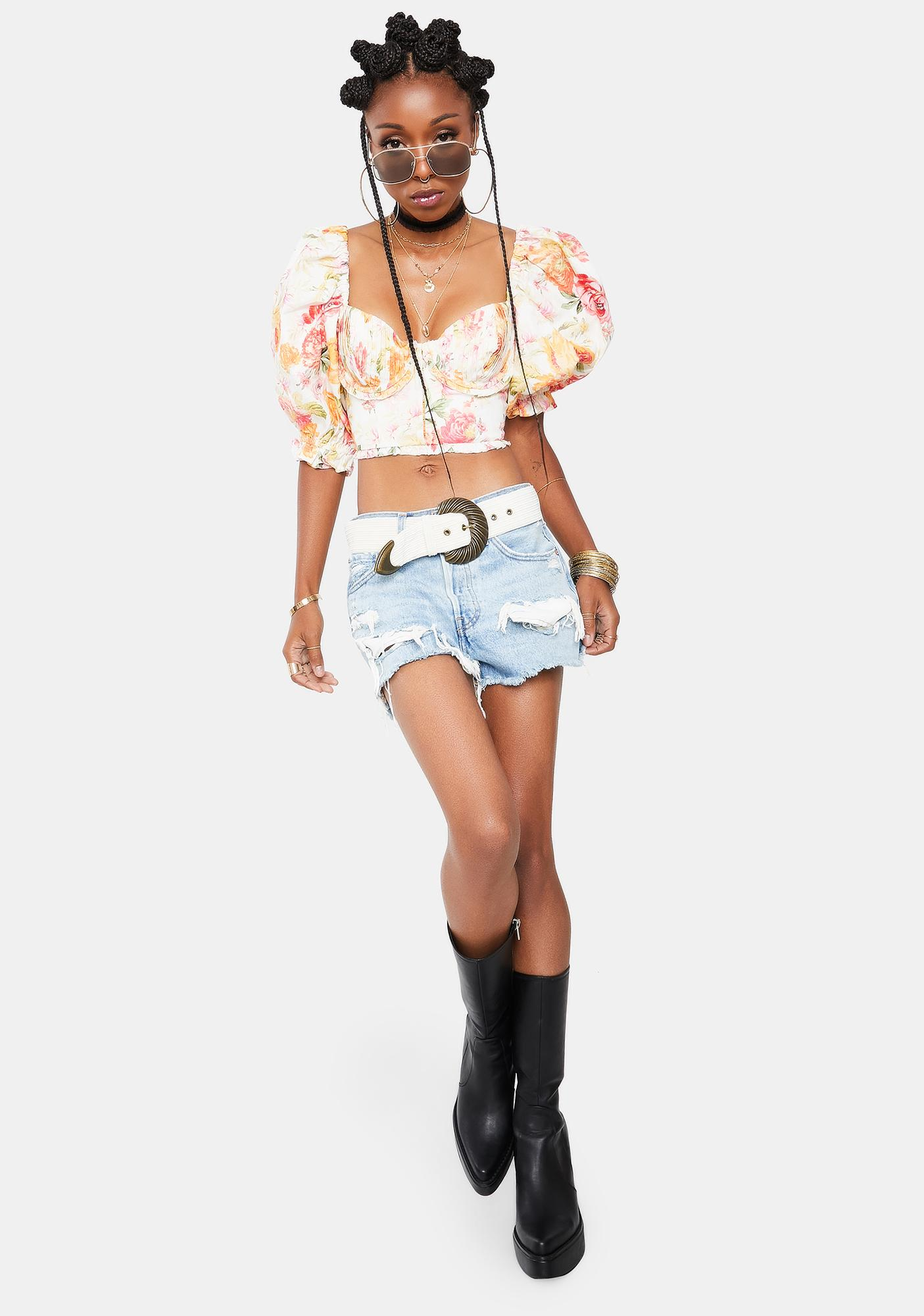 For Love & Lemons Peony Cropped Blouse