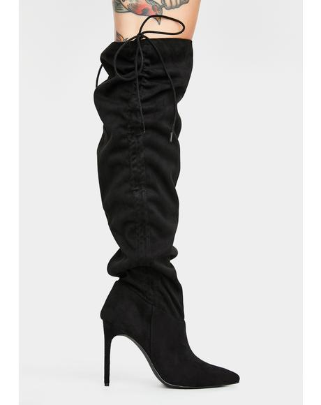 No Means No Knee High Boots