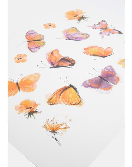 Orange Butterfly Temporary Tattoos
