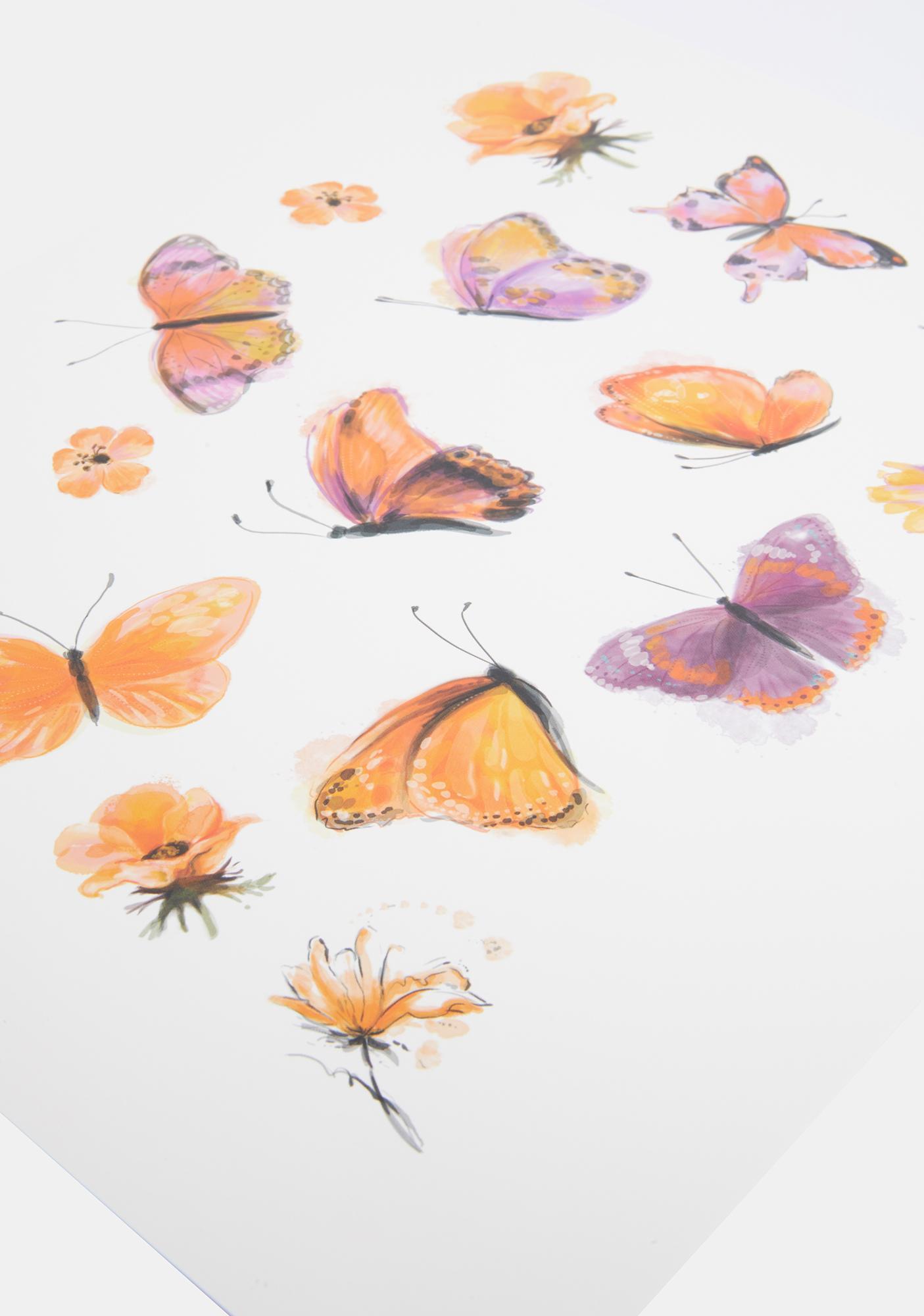 Neva Nude Orange Butterfly Temporary Tattoos