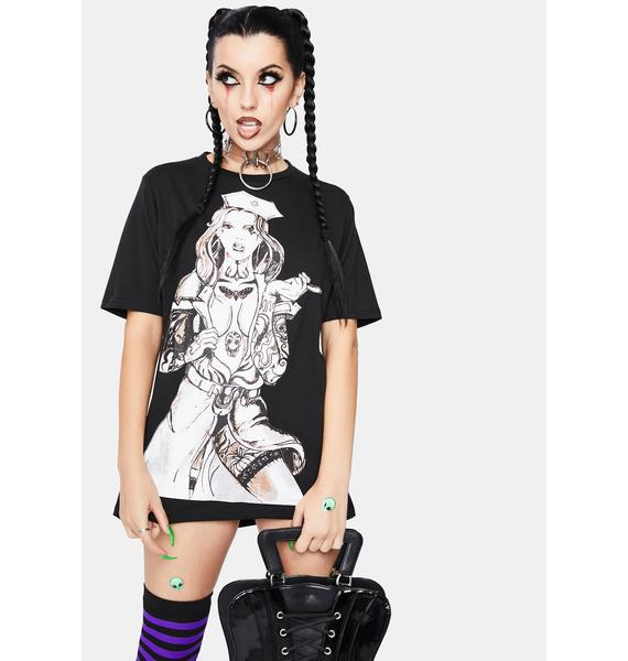 Dr. Faust Tattooed Sexy Cursed Nurse Graphic Tee