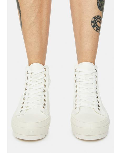 Ivory Get On My Level Platform High Top Sneakers