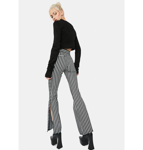 Oui Merci Pinstripe Side Slit Flare Jeans