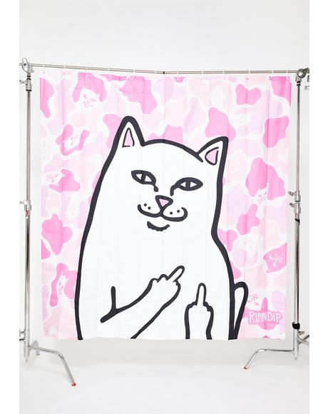 Pink Camo Lord Nermal Shower Curtain