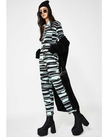 Brushstroke Print Jumpsuit