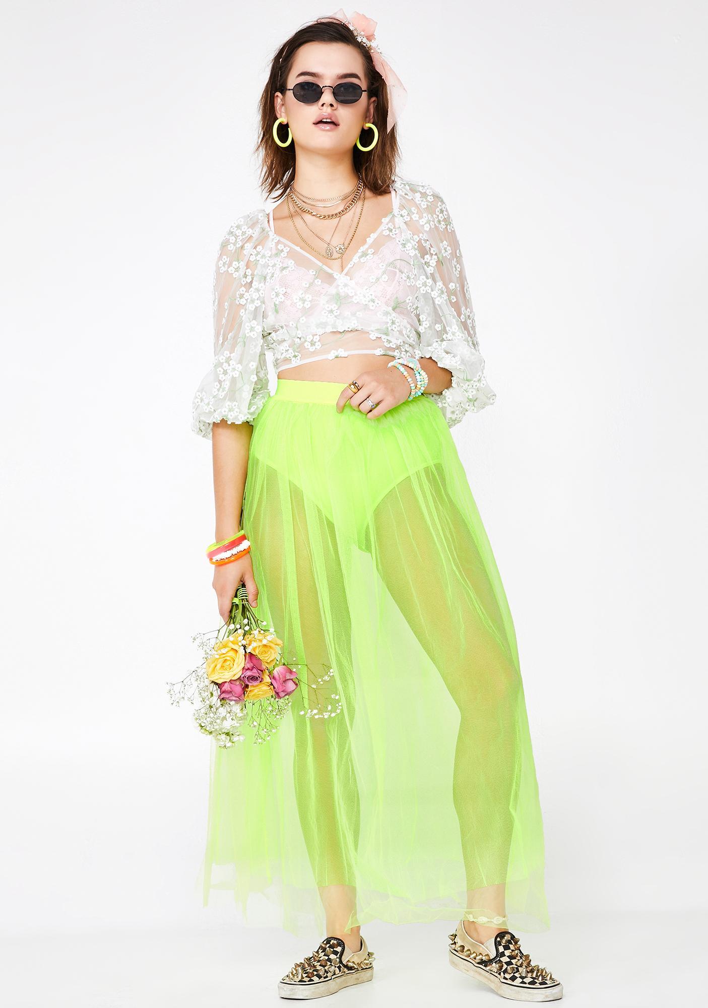 c41fb90c4 Neon Green Sheer Tulle Maxi Skirt | Dolls Kill