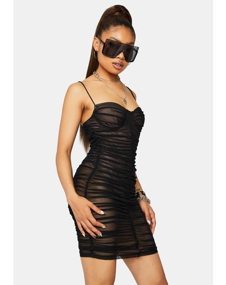 Just One Dance Ruched Mesh Mini Dress