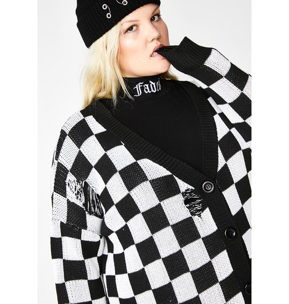 Current Mood Baddie Square Me Up Checkered Cardigan