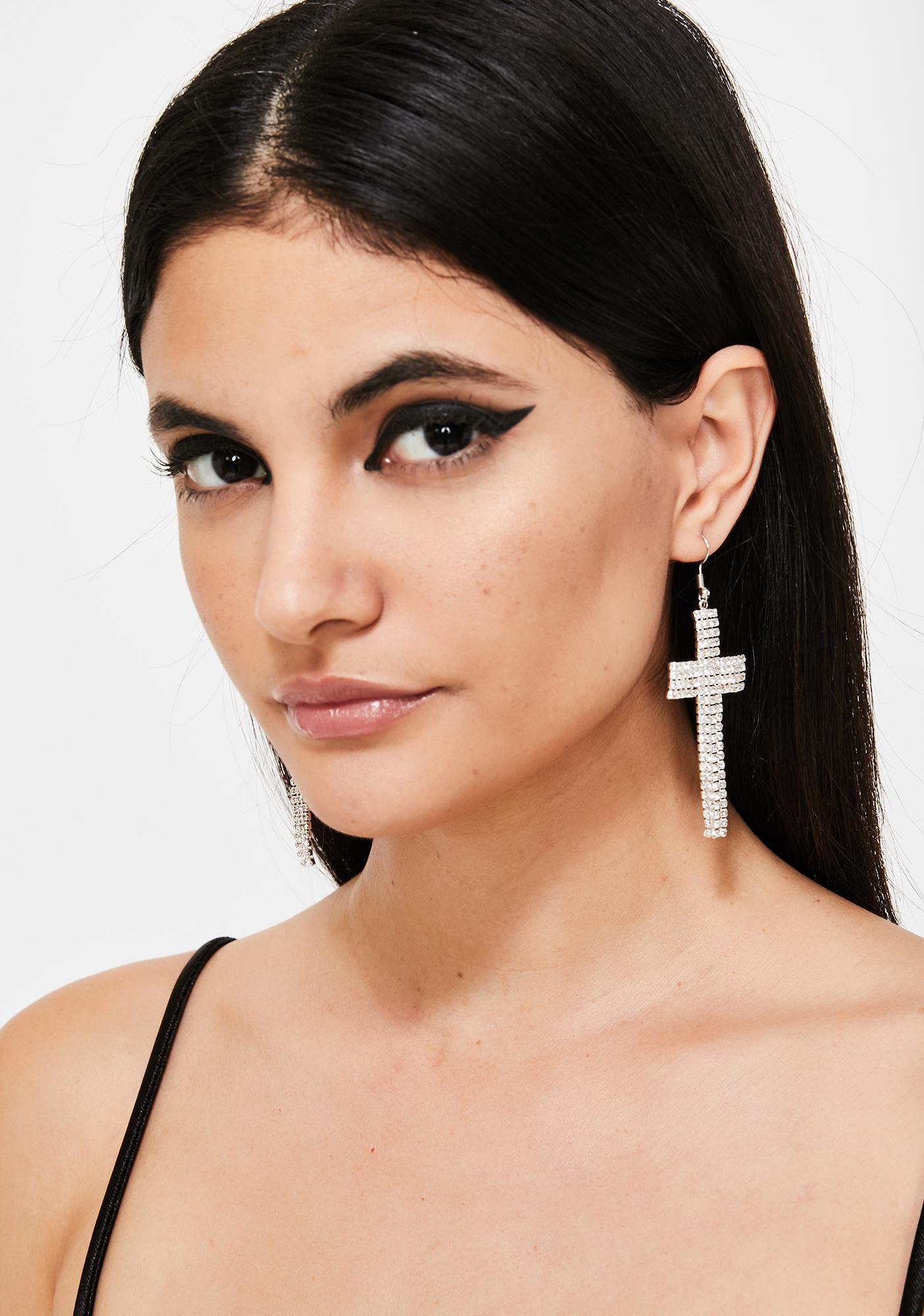 Heavenly Hustla Cross Earrings