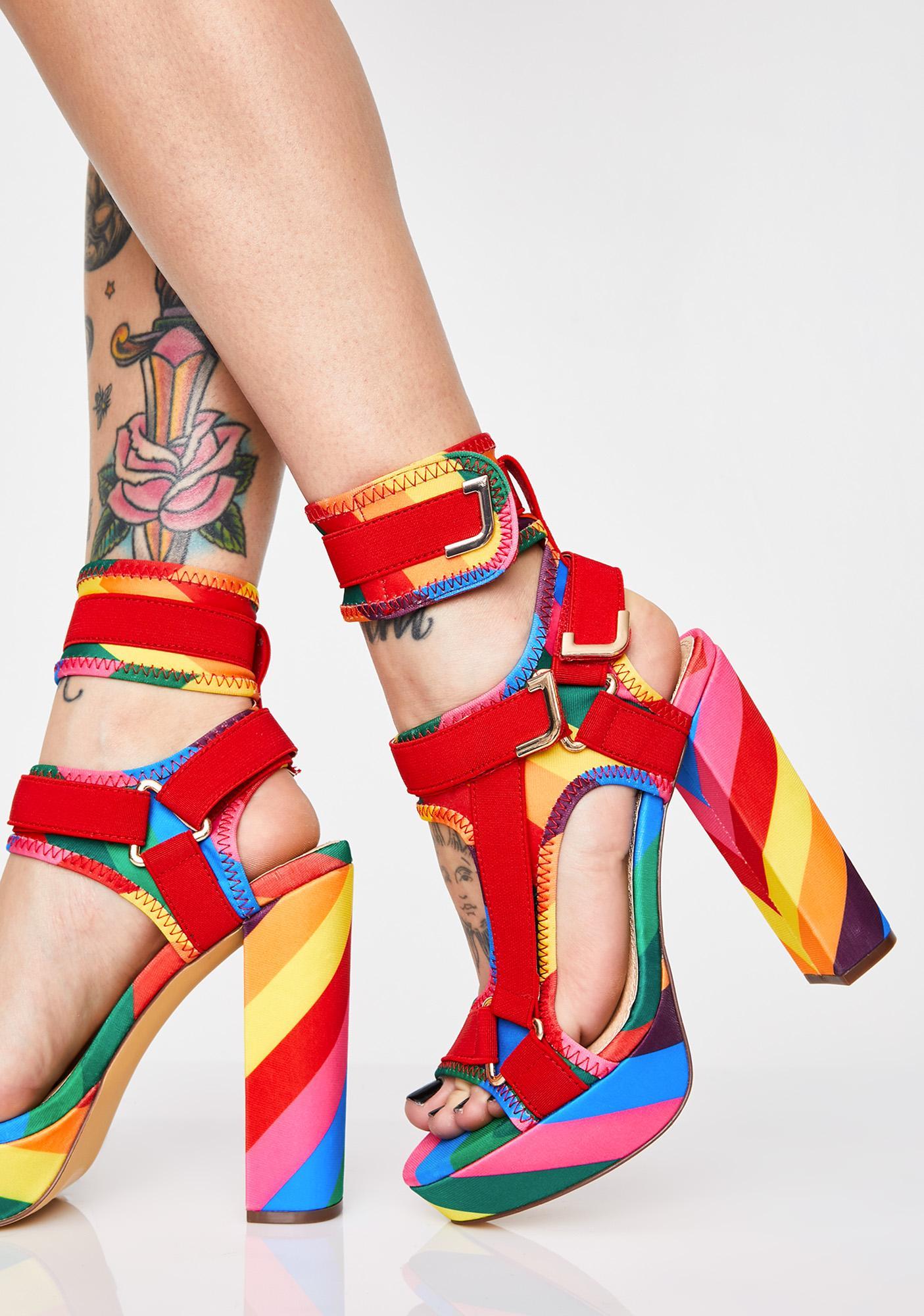 03e08191b9 Platform Striped Rainbow Heels | Dolls Kill