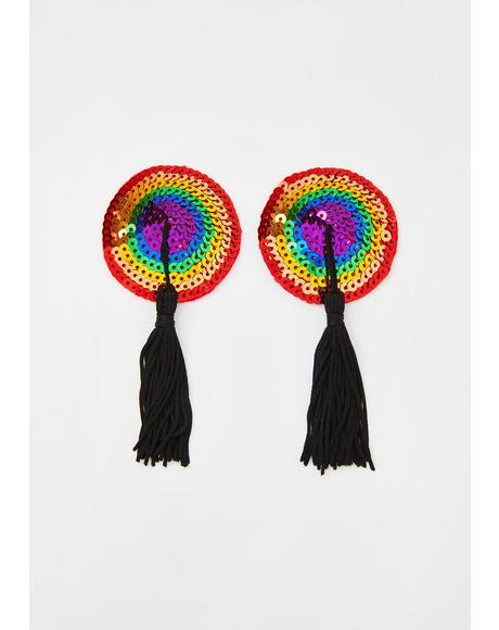 Rainbow Embellished Tassel Pasties