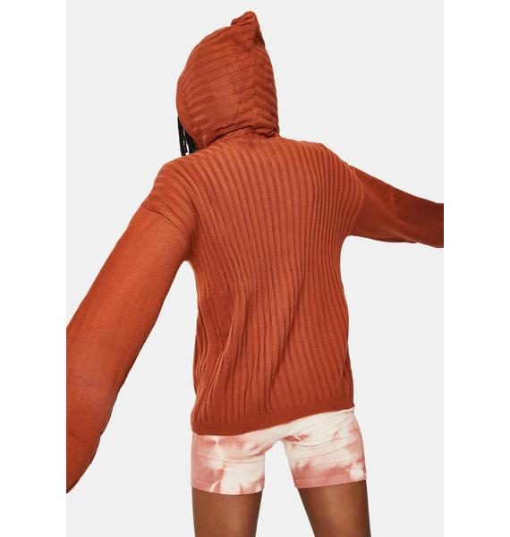 SNDYS. THE LABEL Rust Hendrix Knit Hoodie