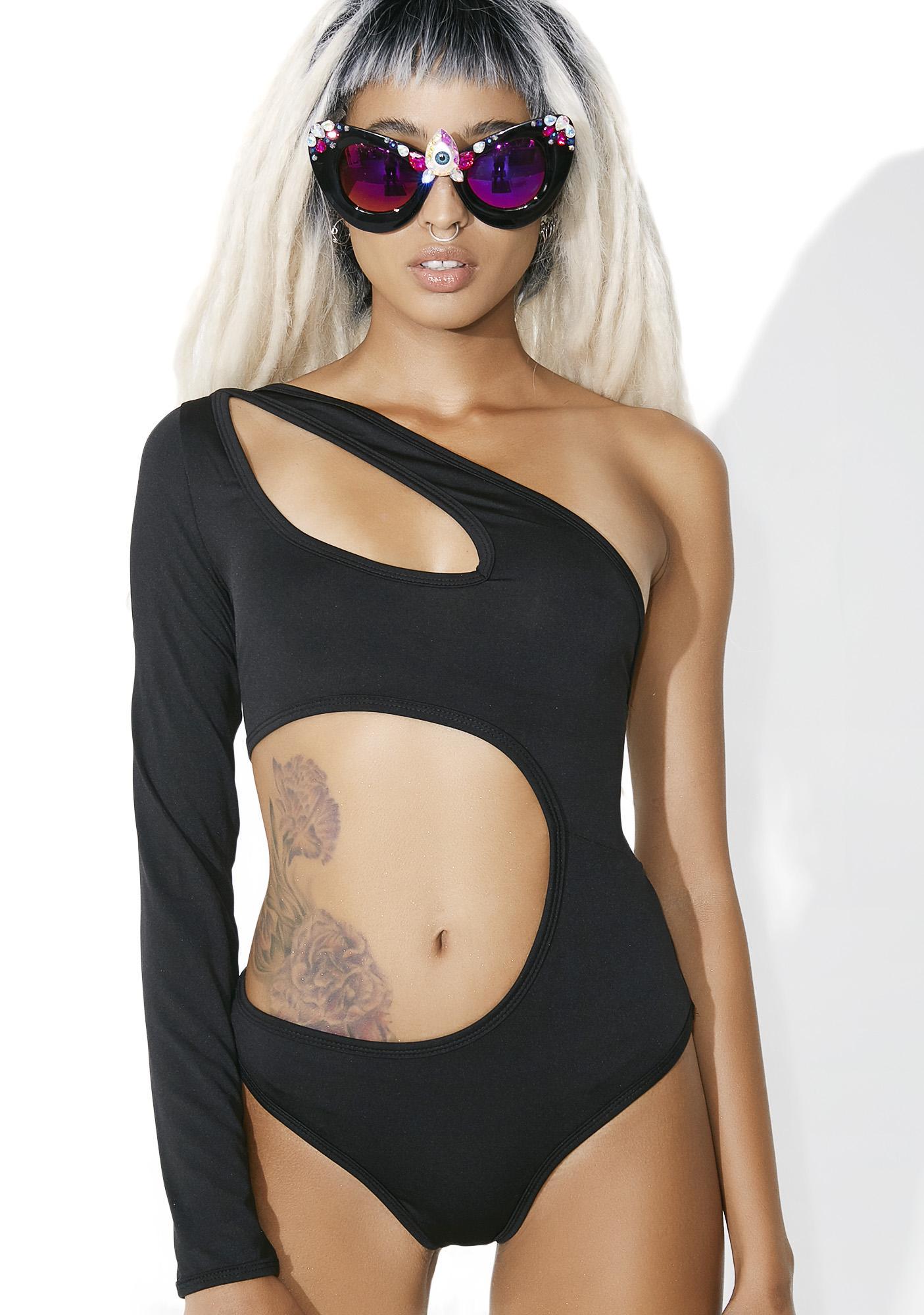 84b7b7f0c2a5 Black Open Shoulder Cut Out Bodysuit   Dolls Kill
