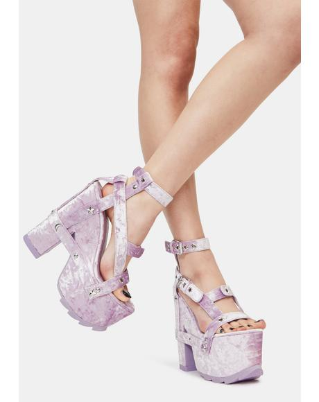 Nightcall Lavender Velvet Platform Heels