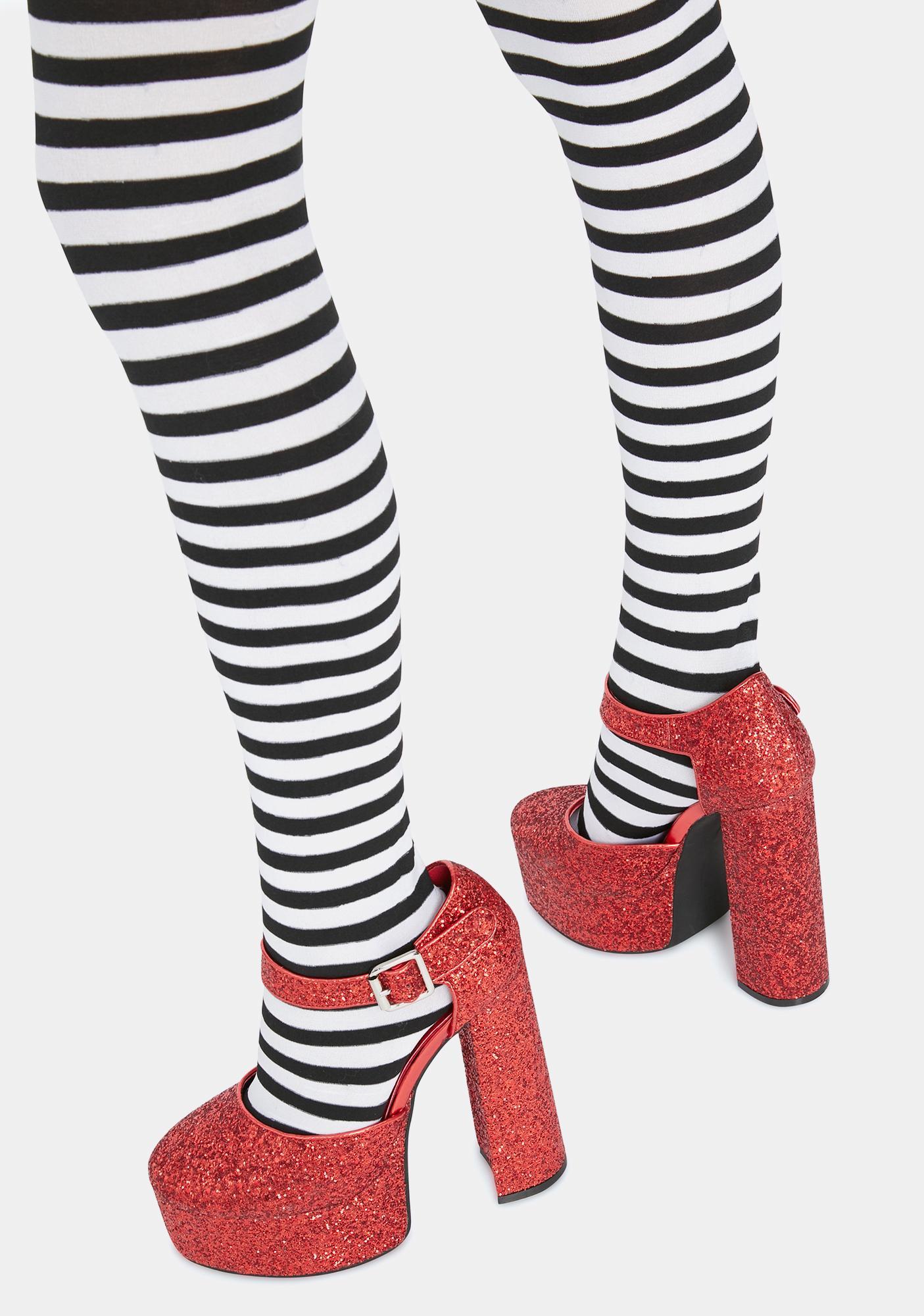 Trickz N' Treatz Ruby Shine By Night Glitter Heels