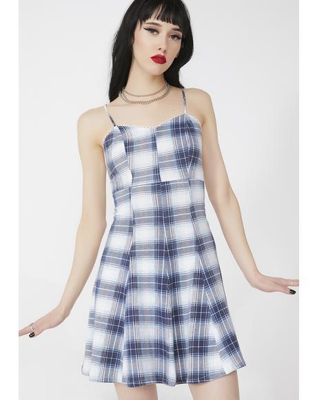Vintage 90s Blue Plaid Dress