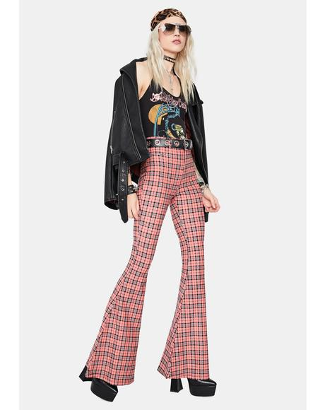 Flirty Hip Check High Waisted Plaid Flares